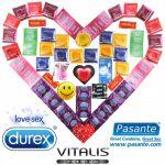 Maxi Balíček 55 kondomů Durex Pasante a Vitalis + lubrikační gel Durex + vibrační kroužek